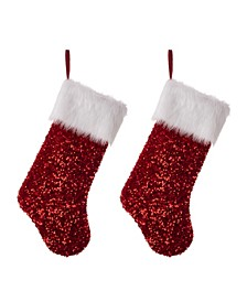 Sequin Christmas Stocking, Set of 2