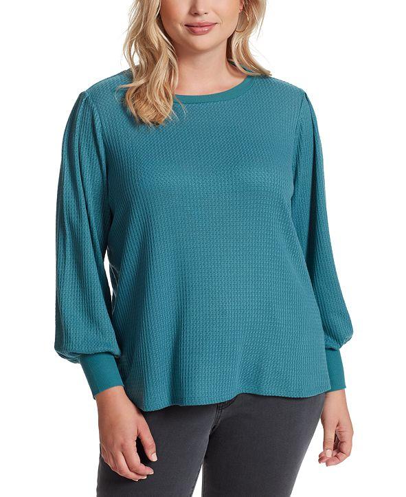 Jessica Simpson Trendy Plus Size Puff-Sleeve Top