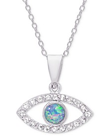 "Simulated Opal & Cubic Zirconia Evil Eye 18"" Pendant Necklace in Sterling Silver"
