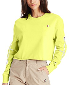 Women's Cotton Long-Sleeve Cropped T-Shirt