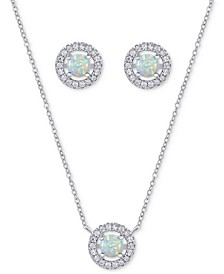 2-Pc. Set Simulated Opal & Cubic Zirconia Halo Pendant Necklace & Matching Stud Earrings in Sterling Silver