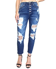 Juniors' Button-Fly Destructed High-Rise Mom Jeans