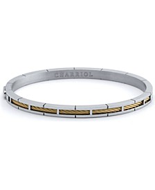 Cable Inlay Bangle Bracelet in Stainless Steel & 18k Yellow Gold PVD