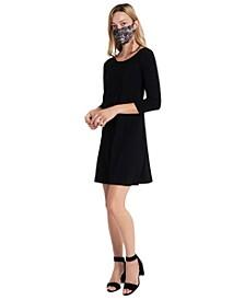 3/4-Sleeve Dress & Face Mask Necklace