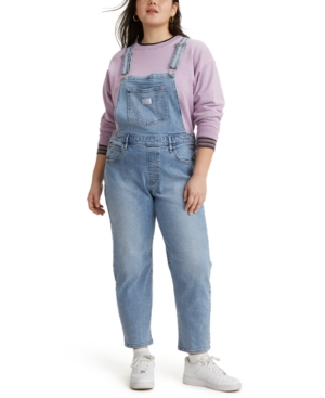 1980s Clothing, Fashion | 80s Style Clothes Levis Trendy Plus Size Everyday Denim Overalls $64.99 AT vintagedancer.com