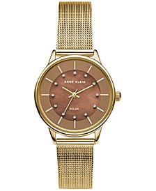 Women's Solar Gold-Tone Mesh Bracelet Watch 32mm
