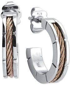 Two-Tone Small Cable Hoop Earrings in Stainless Steel & 18k Rose Gold PVD, 1""