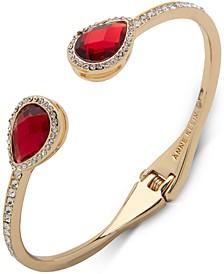 Gold-Tone Stone & Crystal Hinged Cuff Bracelet