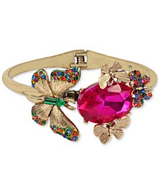 Gold-Tone Multicolor Crystal Butterfly Bangle Bracelet