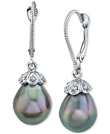 Cultured Tahitian Pearl (9mm) & Diamond Accent Drop Earrings In 14k White Gold