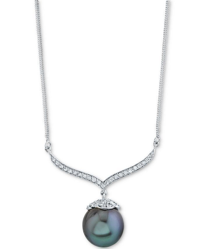 """Macy's - Cultured Black Tahitian Pearl (12mm) & Diamond (3/8 ct. t.w.) 18"""" Pendant Necklace in 14k White Gold"""