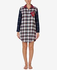 로렌 랄프로렌 잠옷 슬립 셔츠 Lauren Ralph Lauren Mixed Plaid Sleep Shirt,Multi Plaid