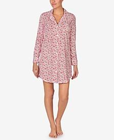 로렌 랄프로렌 잠옷 슬립 셔츠 Lauren Ralph Lauren Cotton Floral-Print Knit Sleep Shirt,Red Fl