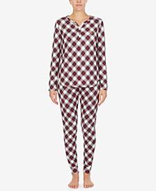 Printed Knit Henley Pajamas Set