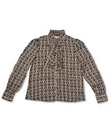 INC Jolie Printed Ruffled Blouse, Created for Macy's