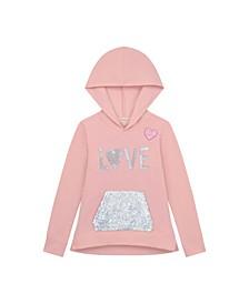 "Big Girl Brushed Fleece Hoodie with ""Love"" Motif and Flip Sequn Kangaroo Pocket"