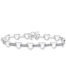 Diamond Heart Link Bracelet (1/6 ct. t.w.) in Sterling Silver
