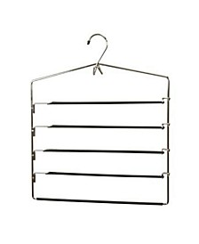 4 Tier Trouser Hanger with Nonslip PVC Coated Swinging Arms and Built-In Accessory Hook