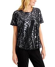 Petite Velvet Burnout Oversized Top, Created for Macy's