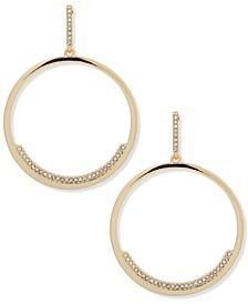 Gold-Tone Pavé Drop Hoop Earrings