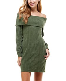 Juniors' Off-The-Shoulder Sweater Dress