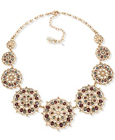 "Gold-Tone Crystal & Bead Filigree Statement Necklace, 16"" + 3"" extender"