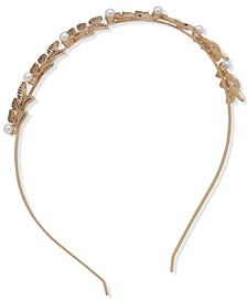 Gold-Tone Imitation Pearl Leaf Headband