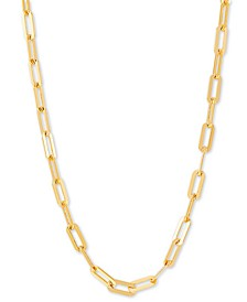 """Paperclip Link 18"""" Chain Necklace in 18k Gold-Plated Sterling Silver or Sterling Silver, Created for Macy's"""