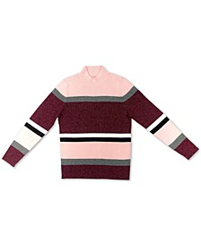 Petite Striped Ribbed Mock-Neck Sweater, Created for Macy's