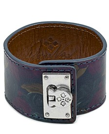 Silver-Tone Leather Buckle Wide Bracelet