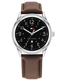 Men's Brown Leather Strap Watch 42mm, Created for Macy's