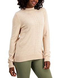 Plus Size Cable-Front Mockneck Sweater, Created for Macy's