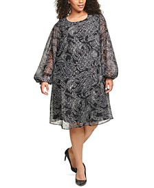 Plus Size Paisley-Print Chiffon Trapeze Dress