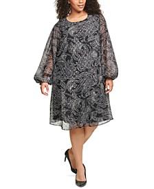 Plus Size Paisley-Print Chiffon Trapeze Dress
