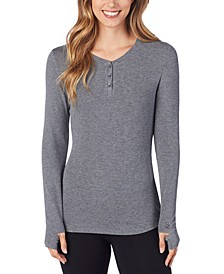 Softwear With Stretch Ribbed Long-Sleeve Henley Top