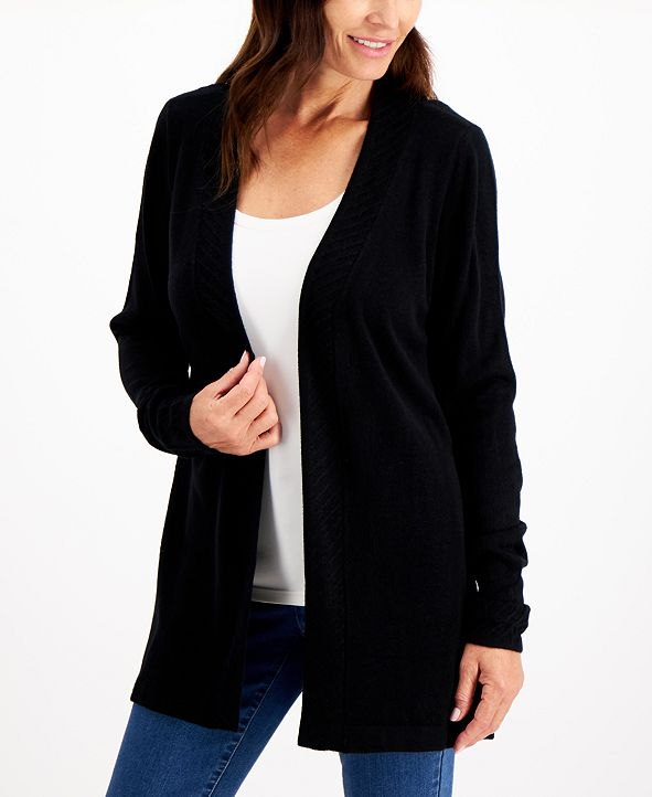Karen Scott Plus Size Luxsoft Ribbed-Trim Open-Front Cardigan Sweater, Created for Macy's