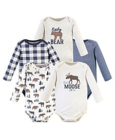 Boys and Girls Moose Bear Long-Sleeve Bodysuits, Pack of 5