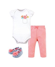 Baby Boys and Girls Flower Pocket Bodysuit, Pant and Shoe Set, Pack of 3