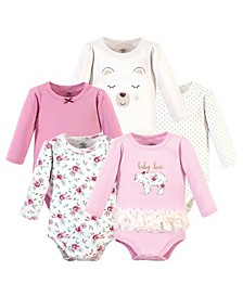 Baby Girls Floral Bear Bodysuits, Pack of 5