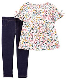 Baby Girl 2-Piece Floral Flutter Tee & Jegging Set