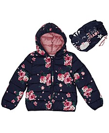 Toddler Girls Floral Print Packable Jacket with Match Back Bag