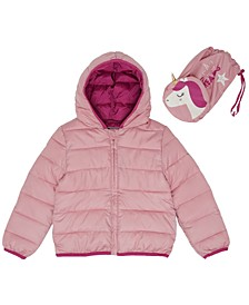 Toddler Girls Unicorn Packable Jacket with Match Back Bag