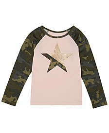 Toddler Girls Long Sleeve Camo Star Graphic Mix and Match Tee