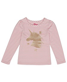Little Girls Long Sleeve Unicorn Graphic Striped Mix and Match Tee