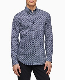 Stretch Cotton Geometric Button-Down Shirt