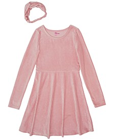 Big Girls Long Sleeve Solid Velour Dress With Headwrap