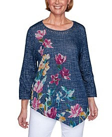 Women's Textured Asymmetric Flowers Misses Top