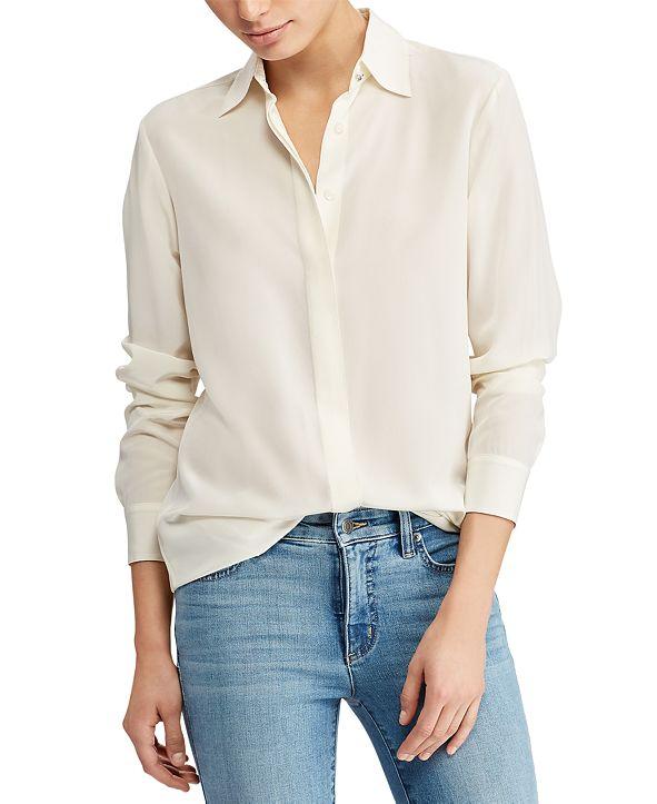 Lauren Ralph Lauren Silk Crepe Button-Down Shirt