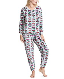 Printed Dimple Fleece Cozy Pajama Set