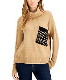 Zebra-Pocket Turtleneck Sweater